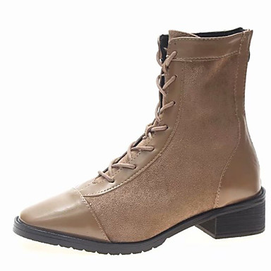 Women s Fashion Boots PU(Polyurethane) Fall Casual Boots Chunky Heel Mid-Calf  Boots Black   Khaki 6970949 2019 –  22.99 e68b569784