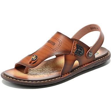 preiswerte Herren Sandalen-Herrn Komfort Schuhe Leder Sommer / Frühling Sommer Klassisch / Retro Sandalen Wasser-Schuhe / Upstream Schuhe Atmungsaktiv Braun