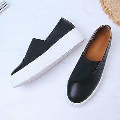 b2b653bc087bb نسائي أحذية الراحة Leather نابا الصيف اخفاف كعب مسطخ أبيض   أسود 6955540  2019 –  49.99