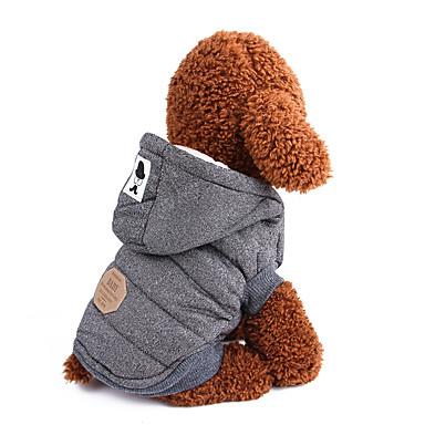 Psi Kaputi Odjeća za psa Jednobojni Klasika Uglađeni Sive boje Plava Pamuk Kostim Za Zima Muška Ugrijati