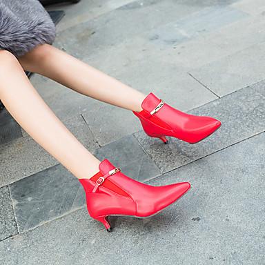levne Dámská obuv-Dámské Fashion Boots Umělá kůže Podzim zima Boty Nízký tenký Palec do špičky Kotníčkové Bílá / Černá / Červená