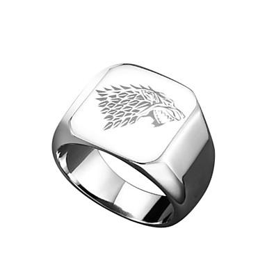 levne Pánské šperky-Pánské Band Ring Pečetní prsten 1ks Zlatá Černá Stříbrná Titanová ocel Jedinečný design Animák Armáda Dar Karneval Šperky Socha Cool
