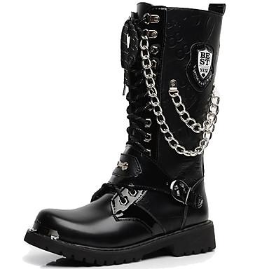 สำหรับผู้ชาย Fashion Boots Synthetics ฤดูใบไม้ร่วง & ฤดูหนาว ไม่เป็นทางการ / อังกฤษ บูท รักษาให้อุ่น บู้ทสูงระดับกลาง สีดำ / พรรคและเย็น / พรรคและเย็น / รองเท้าคอมแบท