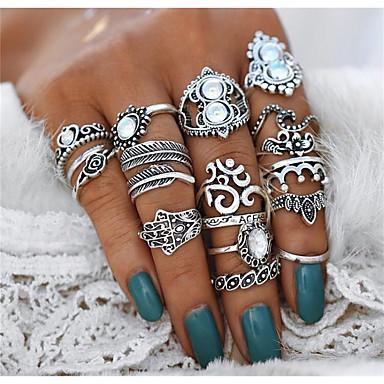 billige Motering-Dame Statement Ring Ring Set Midiringe Krystall 16pcs Sølv Legering Geometrisk Form Fatimas hånd Statement damer Uvanlig Aftenselskap Maskerade Smykker Vintage Stil Hjerte Blomst Krone Kul Smuk