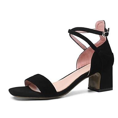 Zapatos Confort Tacón Rosa Mujer Verano Negro Sandalias Ante