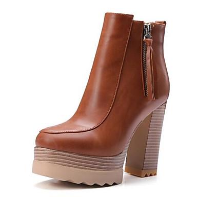 billige Utvalgte tilbud-Dame Fashion Boots Mikrofiber Høst Støvler Tykk hæl Lukket Tå Ankelstøvler Brun / Kamel / Kakifarget