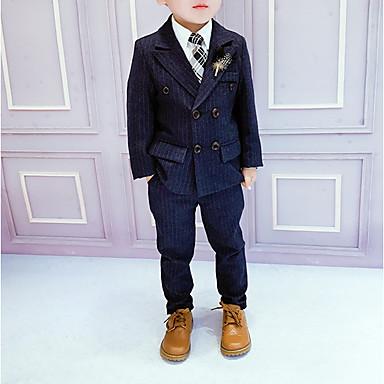 povoljno Odjeća za dječake-Djeca Dječaci Osnovni Prugasti uzorak Dugih rukava Pamuk Komplet odjeće Plava