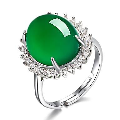 levne Dámské šperky-Dámské Nastavitelný kroužek Nefritově zelená 1ks Zelená Měď Kámen Kulatý nepravidelný dámy Vintage Elegantní Dar Festival Šperky Retro styl Solitaire Kapka