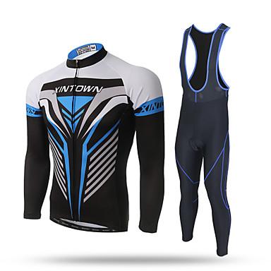 XINTOWN สำหรับผู้ชาย แขนยาว Cycling Jersey with Bib Tights สีดำ จักรยาน กางเกง เสื้อยืด รายการถุงน่อง ระบายอากาศ 3D Pad แถบสะท้อนแสง กระเป๋าหลัง จำกัดแบคทีเรีย ฤดูหนาว กีฬา / สแปนเด็กซ์ / Elastane