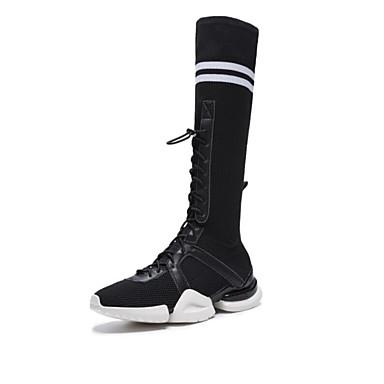 Sintética Piel Zapatos 2019 Tacón Mujer Negro Blanco Verano 6955542 Plano Botas Confort qdtxPE