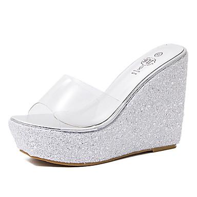 755860e377d Women s Wedge Sandals PVC(Polyvinyl chloride) Summer Minimalism Sandals  Wedge Heel Open Toe Black   Silver   Pink 6948292 2019 –  24.99