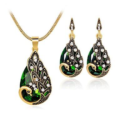 levne Dámské šperky-Dámské Zelená Syntetický akvamarín Vintage náhrdelník Retro Hruška dámy Vintage Indián Náušnice Šperky Červená / Zelená / Modrá Pro Párty Denní 1 sada