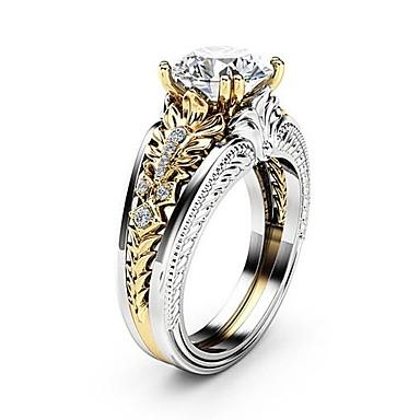 billige Engasjement-Dame Ring Diamant Kubisk Zirkonium liten diamant 1pc Sølv Kobber Platin Belagt Fuskediamant Fire tenger damer Unikt design Gotisk Bryllup Fest Smykker Tofargede Dobbelt Lagdelt Blomst Smuk