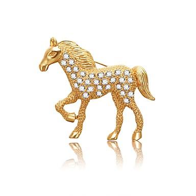 levne Dámské šperky-Dámské Brože Kůň Unicorn dámy umělecké Asijský styl Jednoduchý Umělé diamanty Brož Šperky Zlatá Pro Večerní oslava Miláček