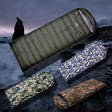 cheap Sleeping Bags & Camp Bedding-Sleeping Bag Outdoor Camping Envelope / Rectangular Bag -10~5 °C White Duck Down Breathable Rain Waterproof Warm Ultra Light (UL) Thick Wear Resistance 210*80 cm Spring &  Fall Winter for Fishing