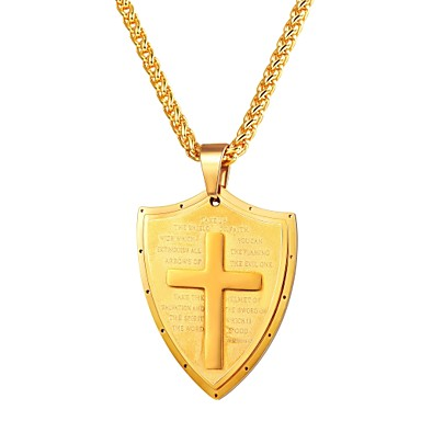 cheap Pendant Necklaces-Men's Pendant Necklace Classic Cross Classic Vintage Stainless Steel Black Gold Silver 55 cm Necklace Jewelry 1pc For Gift Daily