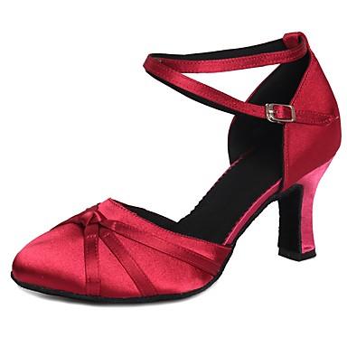 Zapatos Hebilla Pajarita Moderno Baile De Satén Tacones Mujer Alto z1Sqd1wp