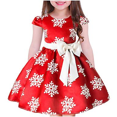 levne Nejprodávanější-Děti Dívčí Sladký Květinový Vánoce Krátký rukáv Šaty Vodní modrá