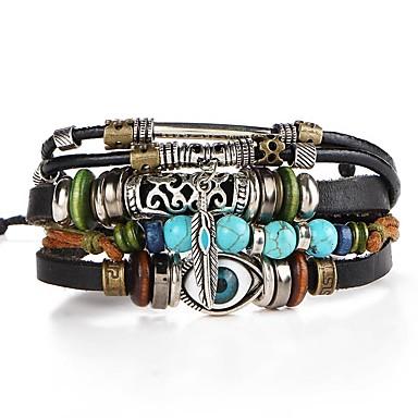 voordelige Herensieraden-Heren Lederen armbanden Gevlochten Ogen Artistiek Uniek ontwerp PU Armband sieraden Bruin Voor Avond Feest Straat