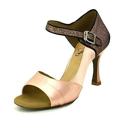 preiswerte Tanzschuhe-Damen Tanzschuhe Satin Schuhe für den lateinamerikanischen Tanz Glitter Absätze Keilabsatz Rosa / Mandelfarben / Hautfarben / Leistung / Leder / Praxis / EU39