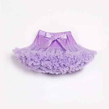 preiswerte Röcke für Mädchen-Kinder Baby Mädchen Grundlegend Street Schick Alltag Geburtstag Solide Schleife Mehrlagig Rüsche Rock Rosa / Gefaltet / Gitter