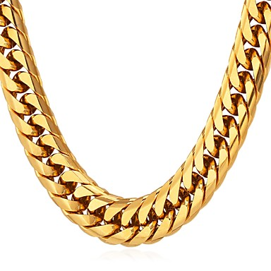 cheap Necklaces-Men's Chain Necklace Thick Chain Box Chain franco chain Fashion Hip Hop Stainless Steel Black Gold Silver 55 cm Necklace Jewelry 1pc For Gift Daily