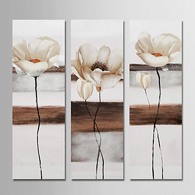 cheap Wall Art-Oil Painting Hand Painted - Floral / Botanical Modern Stretched Canvas / Three Panels