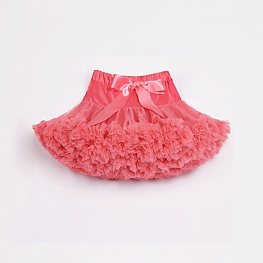 cheap Girls' Skirts-Kids Toddler Girls' Active Street chic Sports Holiday Solid Colored Bow Layered Ruffle Skirt