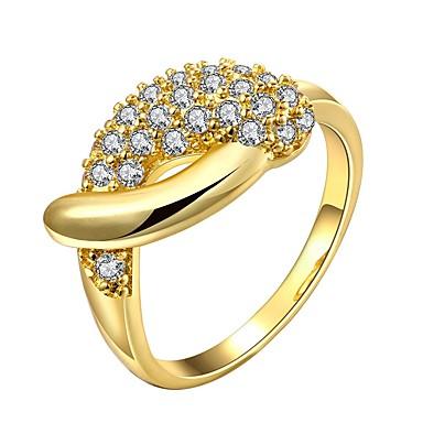 billige Motering-Dame Ring Kubisk Zirkonium liten diamant 1pc Gull Rose Gull 18K Gull Geometrisk Form damer Mote Daglig Bursdag Smykker Klassisk Smuk
