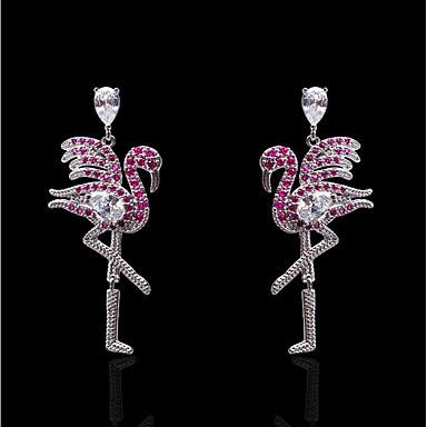 povoljno Modne naušnice-Žene Fuksija Kubični Zirconia Viseće naušnice Klasičan Flamingo dame Stilski pomodan Ogroman Pozlaćeni S925 Sterling Silver Naušnice Jewelry Pink Za Zabava / večer Dnevno 1 par