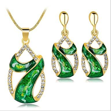 levne Dámské šperky-Dámské Zelená Syntetický akvamarín Vintage náhrdelník Retro Leaf Shape dámy Vintage Náušnice Šperky Zelená / Červená / Modrá Pro Párty Denní 1 sada
