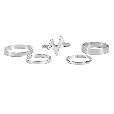 levne Dámské šperky-Dámské Sada kroužků Midi prsteny Stohovatelné kroužky 5pcs 1 sada Zlatá Stříbrná Slitina dámy Jednoduchý Evropský Ležérní Street Šperky Retro Srdeční frekvence