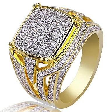 voordelige Herensieraden-Heren Ring Zegelring Kubieke Zirkonia 1pc Goud Koper Strass Geometrische vorm Stijlvol Luxe Hip Hop Bruiloft Feest Sieraden Klassiek Cool