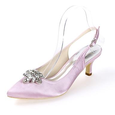 Women S Slingback Satin Spring Summer Minimalism Wedding Shoes Kitten Heel Pointed Toe Buckle Light Pink Dark Purple Ivory Party Evening 6956415