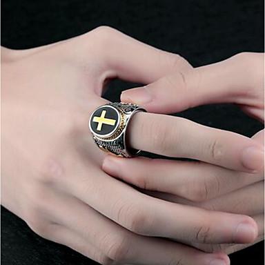 levne Pánské šperky-Pánské Prsten Pečetní prsten 1ks Stříbrná Titanová ocel Oválný Punk Denní Šperky 3D Haç Kruhový kříž