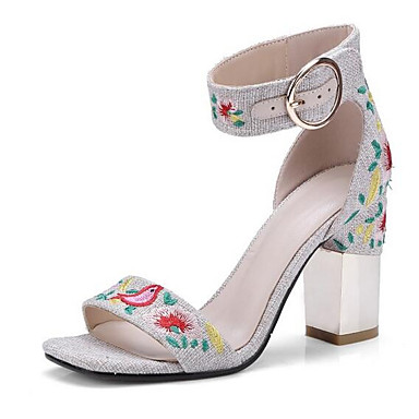 Mujer Sandalias Vaquero Cuadrado Tacón Confort Verano Blanco Zapatos ALq34R5j