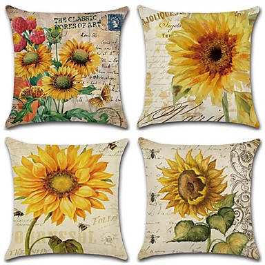 cheap Pillow Covers-Cushion Cover 4PC Linen Soft Decorative Square Throw Pillow Cover Cushion Case Pillowcase for Sofa Bedroom 45 x 45 cm (18 x 18 Inch) Superior Quality Mashine Washable Pack of 4