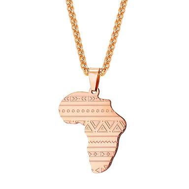 povoljno Modne ogrlice-Muškarci Ogrlice s privjeskom Klasičan Karte Klasik afrički Tikovina Pink Plava Rose Gold 55 cm Ogrlice Jewelry 1pc Za Dar Dnevno