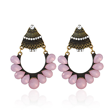 povoljno Modne naušnice-Žene Viseće naušnice Retro dame Europska Umjetno drago kamenje Austrijski kristal Naušnice Jewelry Bronza Za Ulica 1 par