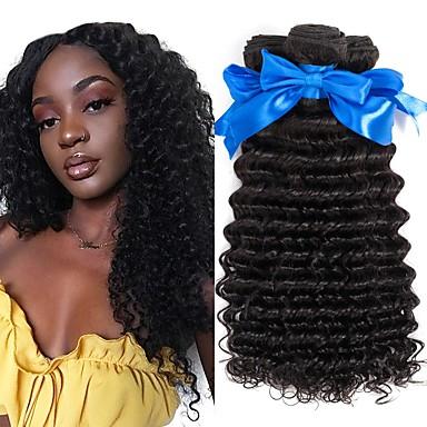 povoljno Ekstenzije od ljudske kose-6 paketića Peruanska kosa Duboko Val Ljudska kosa Netretirana  ljudske kose Ljudske kose plete Produžetak Bundle kose 8-28 inch Prirodna boja Isprepliće ljudske kose Svilenkast Dizajni Moda / 8A
