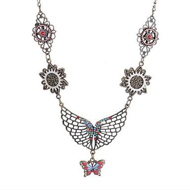 Dámské Retro styl Vintage náhrdelník - Postříbřené Motýl dámy ... 4167511d0f7