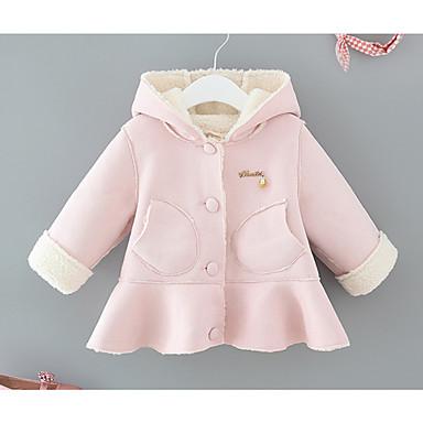 preiswerte Oberbekleidung für Babys-Baby Mädchen Grundlegend Alltag Solide Langarm Standard Baumwolle Jacke & Mantel Blau