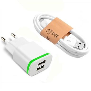 Prenosivi punjač USB punjač EU utikač sa kabelom / Multi-izlaz 2 USB portova 2.1 A DC 5V za S9 / S7 / S6