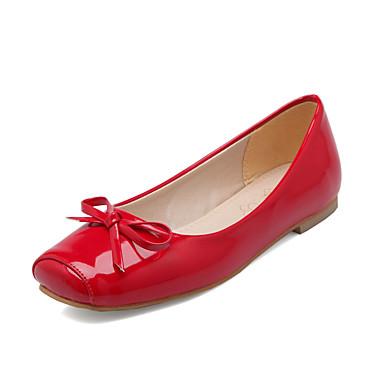 preiswerte Damenschuhe-Damen Lackleder Frühling Sommer Freizeit / Britisch Flache Schuhe Flacher Absatz Quadratischer Zeh Schleife Schwarz / Beige / Rot