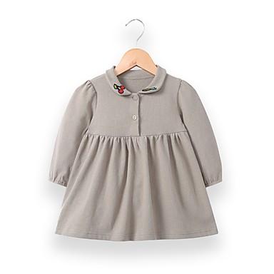 povoljno Odjeća za bebe-Dijete Djevojčice Aktivan / Osnovni Dnevno Crno-crvena Kolaž Kolaž Dugih rukava Duga Normalne dužine Midi Pamuk Haljina Blushing Pink / Dijete koje je tek prohodalo