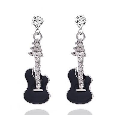 povoljno Modne naušnice-Žene Viseće naušnice 3D Glazba Gitara dame Stilski Umjetno drago kamenje Naušnice Jewelry Pink Za Dnevno 1 par