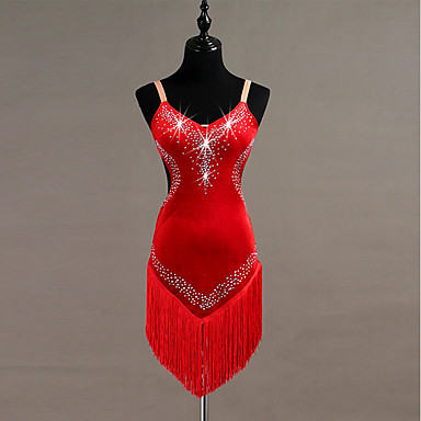 cheap Dancewear & Dance Shoes-Latin Dance Dresses Women's Training Pleuche Tassel / Crystals / Rhinestones Sleeveless High Dress