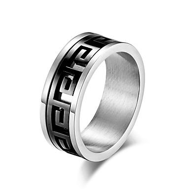 billige Motering-Herre Band Ring Ring Groove Rings 1pc Gull Svart Rustfritt stål Stilfull Grunnleggende trendy Daglig Gate Smykker Klassisk Tofargede Kul