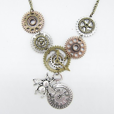 Women's Vintage Necklace Vintage Style Bee Gear Ladies Vintage Steampunk Chunky Alloy Ancient Bronze 61 cm Necklace Jewelry 1pc For Gift Street