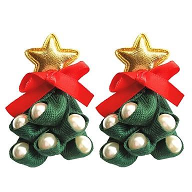 povoljno Modne naušnice-Žene 3D Sitne naušnice - Imitacija bisera Koža Božićno drvce dame Stilski Umjetnički Jewelry Zelen Za Božić 1 par